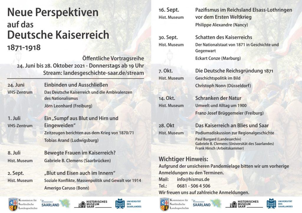 """Fortsetzung Vortragsreihe """"Neue Perspektiven auf das Deutsche Kaiserreich"""" ab 2. September"""