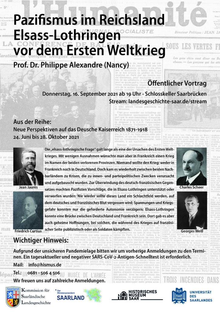 PM: Vortrag – Pazifismus im Reichsland Elsass-Lothringen vor dem Ersten Weltkrieg